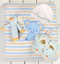 Poklon set: kapa, deka, zvečka, papuče i poklon vrećica, vel. 56-68