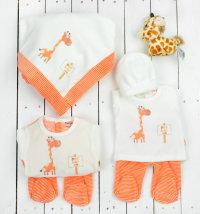 Poklon set: deka, kombinezon, 3djelni komplet, žirafa i poklon vrećica, vel. 50-68