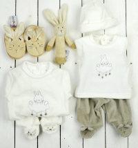 Poklon set: kombinezon, 3djelni komplet,  zvečka zec, papučice zec i poklon vrećica, vel. 50-68