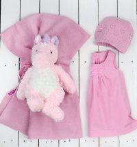 Poklon set: deka, kapa, haljina, jednorog Estella, poklon vrećica  vel. 50-68