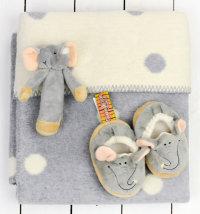 Poklon set: deka, zvečka slon, papučice slon, poklon vrećica