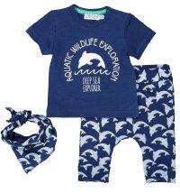 DIRKJE Pamučni komplet majica kratkih rukava, hlače i marama s printom delfina