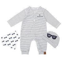 Pamučni prugasti kombinezon/ pidžama s kapicom i podbradnikom