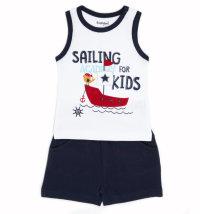 BABYBOL Mornarski komplet majica bez rukava i kratke hlače