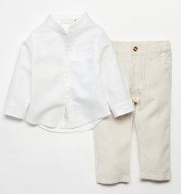 BABYBOL Laneni komplet košulja s ruskom kragnom i hlače
