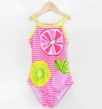 KNOT SO BAD Jednodijelni prugasti kupaći kostim s voćnim printom